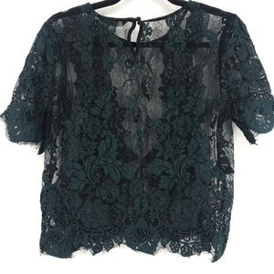 Only cropped green lace top keyhole med/large